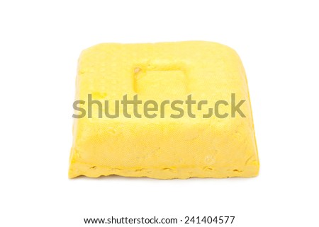 yellow bean curd or tofu isolated on white background - stock photo