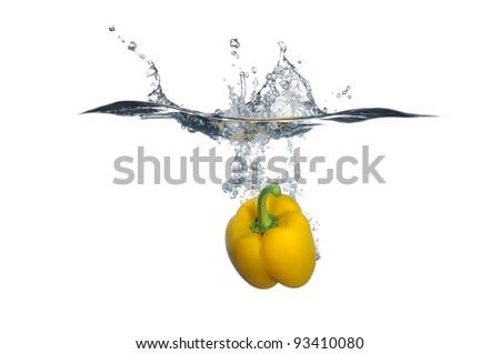 Yellow bell pepper splash - stock photo
