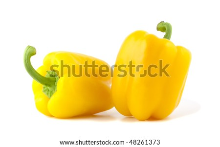 Yellow bell peppers isolated on white background. - stock photo