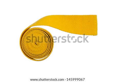 Yellow belt isolated on a white background - stock photo