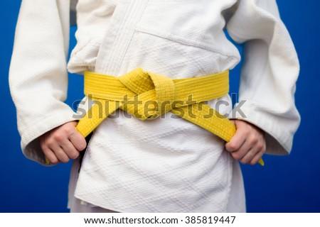 yellow belt judo - stock photo