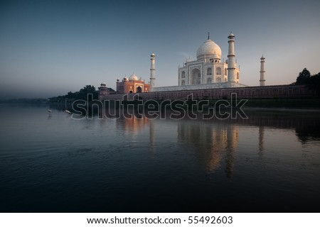 Yellow billed stork walk in the Jamuna River next to the Taj Mahal and its sunset reflection - stock photo