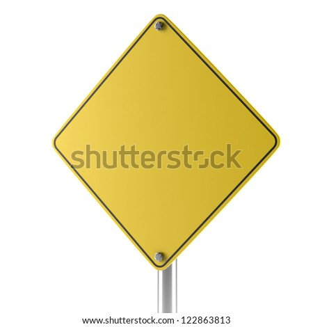 Yellow blank isolated caution sign isolated on a white background - stock photo
