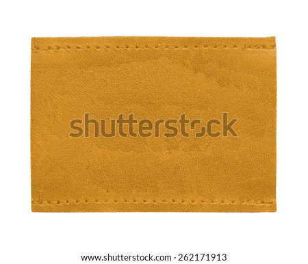 yellow blank leather  label isolated on white  - stock photo