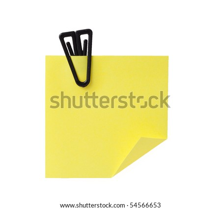 Yellow blank memo with paper clip isolated on white background - stock photo