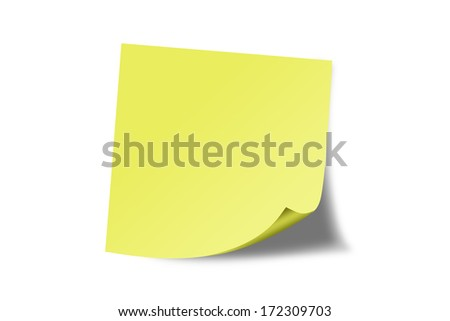 Yellow Blank sticky note. - stock photo