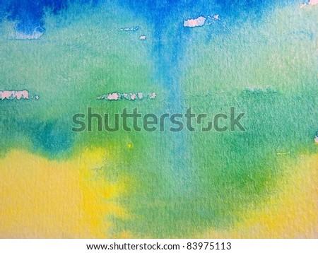Yellow Blue & Green Watercolor - stock photo