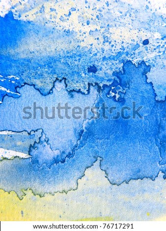 Yellow Blue Watercolor 3 - stock photo
