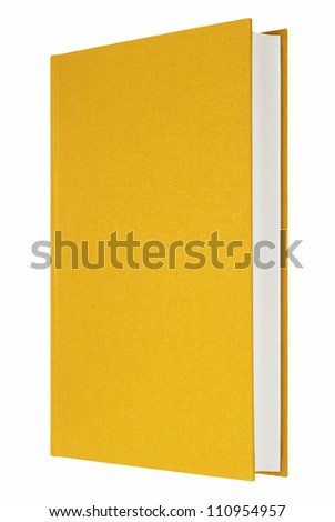 Yellow book isolated on white, fabric cover - stock photo