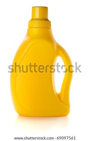 Yellow bottle. Isolated on white background - stock photo