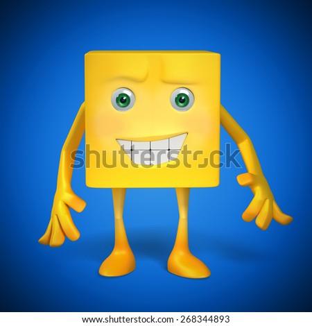 Yellow Box Character - stock photo