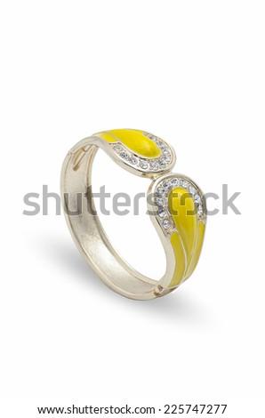 yellow bracelet with diamonds on a white background - stock photo
