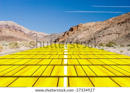 yellow brick road in the desert - stock photo