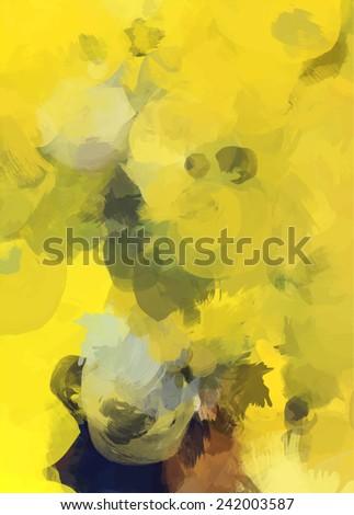 Yellow bright brush strokes background - stock photo