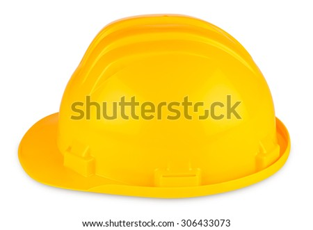 yellow building-site helmet on white background - stock photo