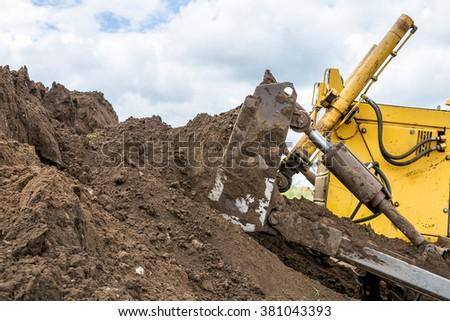 Yellow bulldozer - stock photo