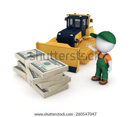 Yellow bulldozer and big stack of dollars. 3d illustration isolated on white background. - stock photo