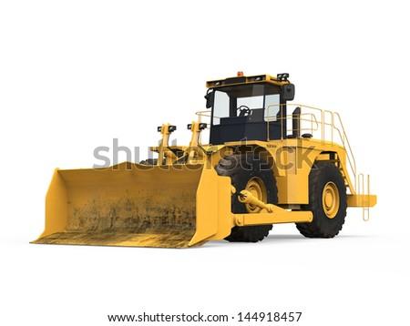 Yellow Bulldozer Isolated - stock photo