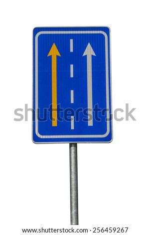 Yellow bus and taxi lane traffic sign - stock photo