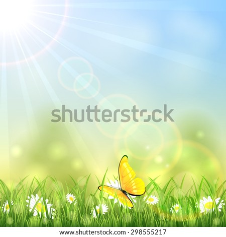 Yellow butterfly and white flowers on sunny background, illustration. - stock photo