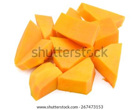 yellow butternut squash chunks isolated on white  - stock photo