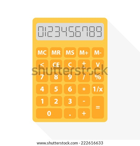yellow calculator in flat design with long shadow and set of digital numbers - symbol of count, calculation, account and math - stock photo