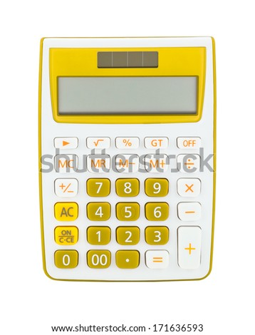 Yellow calculator isolated on a white background - stock photo