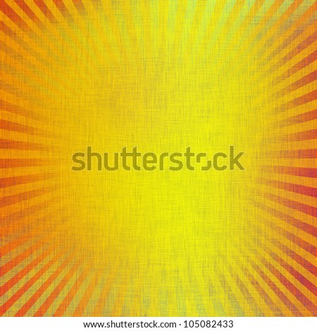 yellow canvas texture with rays as abstract background, easter background or greeting card template - stock photo