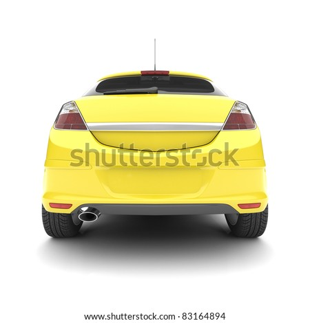 Yellow car on a white background. 3d illustration - stock photo