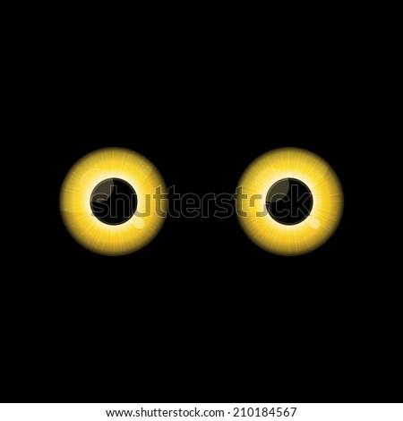 Yellow Cat eyes in dark night.  background. - stock photo