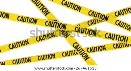 Yellow Caution Barrier Tape Background - stock photo