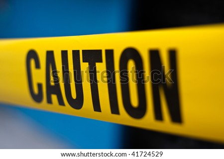 yellow caution tape - stock photo