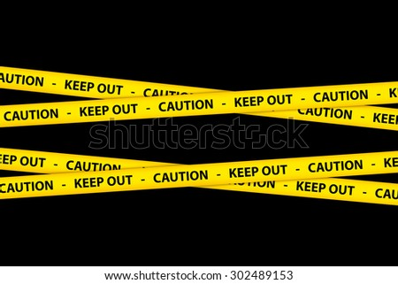 Yellow caution tape strips with text of keep out and caution, on black background. - stock photo