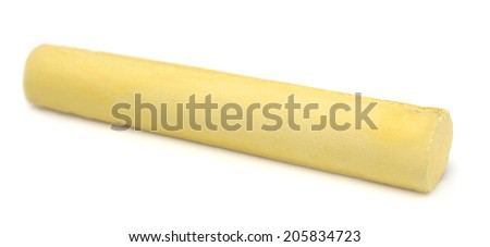 Yellow chalk over white background - stock photo
