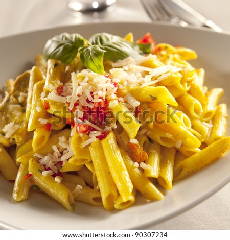 Yellow chicken pasta with parmesan cheese and chili pyree - stock photo