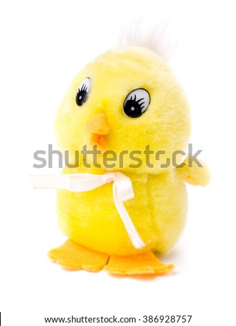 Yellow chicken toy isolated on white background. - stock photo