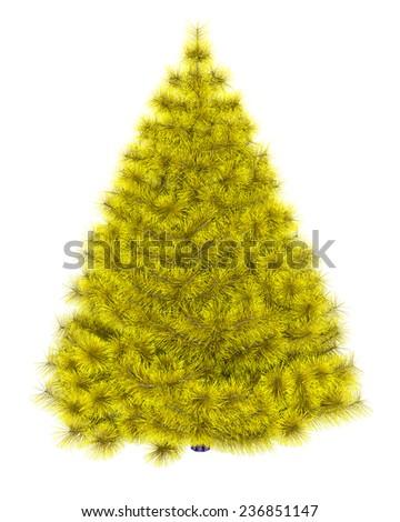 Yellow christmas tree isolated on white background  - stock photo