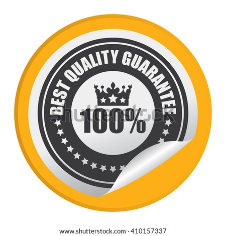 Yellow Circle 100% Best Quality Guarantee - Product Label, Campaign Promotion Infographics Flat Icon, Peeling Sticker, Sign Isolated on White Background  - stock photo