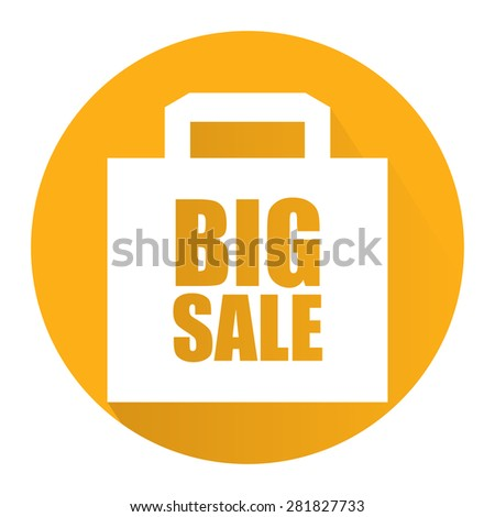 Yellow Circle Big Sale Long Shadow Style Icon, Label, Sticker, Sign or Banner Isolated on White Background - stock photo