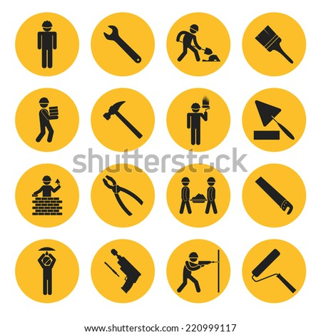 Yellow Circle Construction and Building Icons with Various Tools and Workers - stock photo