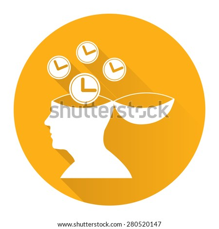 Yellow Circle Head With Clock, Time Saving, Time Management Flat Long Shadow Style Icon, Label, Sticker, Sign or Banner Isolated on White Background - stock photo