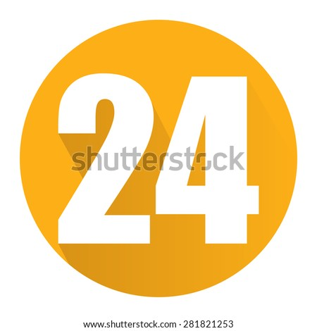 Yellow Circle 24, 24HR, 24HRS, 24 Hours Service, 24 Hours Open Long Shadow Style Icon, Label, Sticker, Sign or Banner Isolated on White Background - stock photo