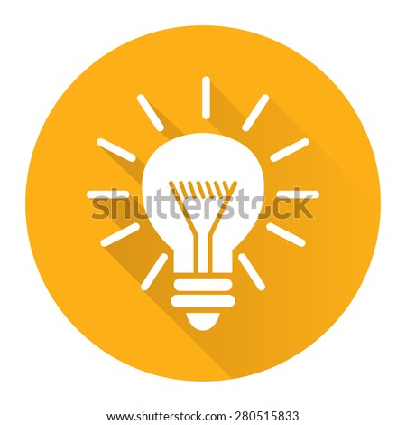 Yellow Circle Idea or Light Bulb Long Shadow Style Icon, Label, Sticker, Sign or Banner Isolated on White Background - stock photo