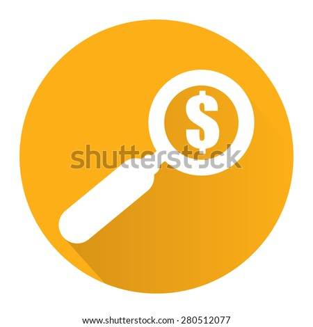 Yellow Circle Magnifying Glass With Dollar Sign Flat Long Shadow Style Icon, Label, Sticker, Sign or Banner Isolated on White Background - stock photo