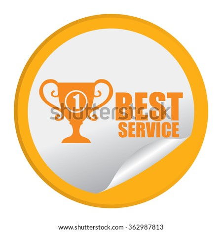 Yellow Circle No.1 Best Service, Product Label, Infographics Flat Icon, Peeling Sticker, Sign Isolated on White Background  - stock photo
