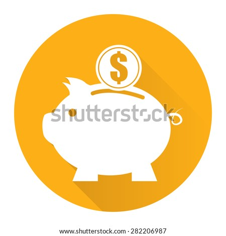 Yellow Circle Piggy Bank With Dollar Currency Coin Flat Long Shadow Style Icon, Label, Sticker, Sign or Banner Isolated on White Background - stock photo