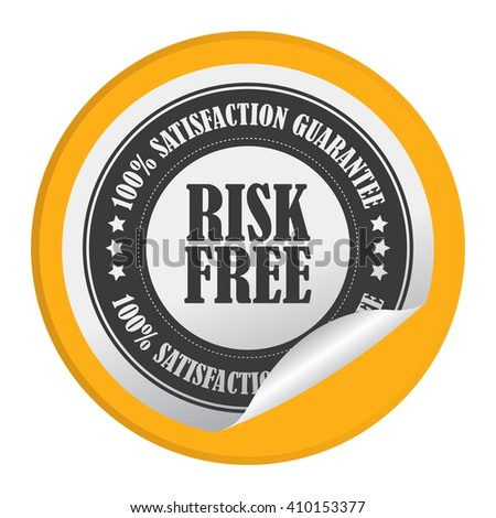 Yellow Circle Risk Free 100% Satisfaction Guarantee - Product Label, Campaign Promotion Infographics Flat Icon, Peeling Sticker, Sign Isolated on White Background  - stock photo