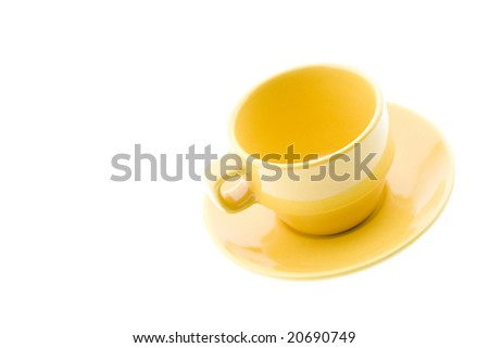 Yellow Coffee Cup and Plate - stock photo