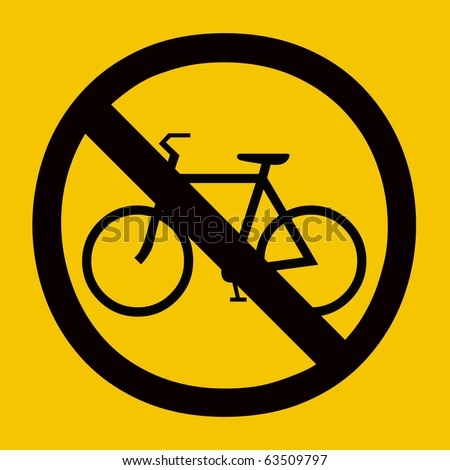 Yellow color No bicycle allow sign - stock photo