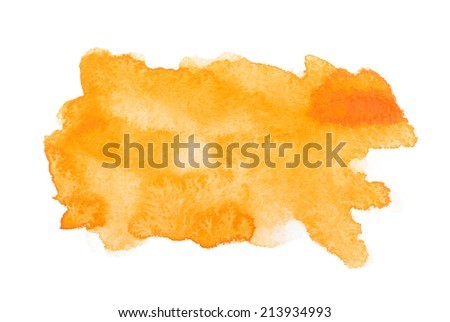 Yellow colorful abstract hand draw watercolour aquarelle art paint splatter stain on white background. - stock photo
